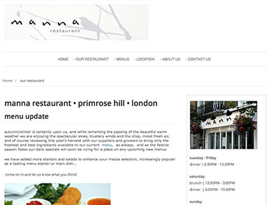 Manna restaurant website